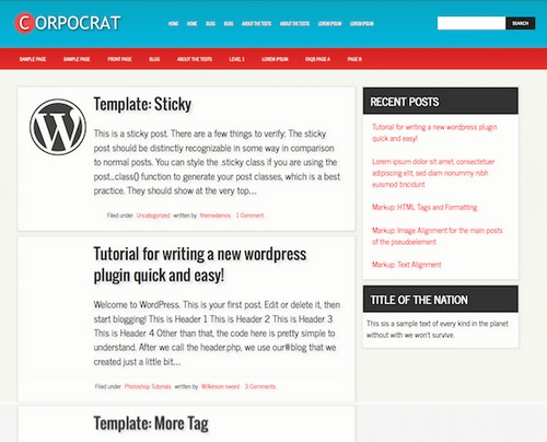 Corporate Free Personal Blog Template