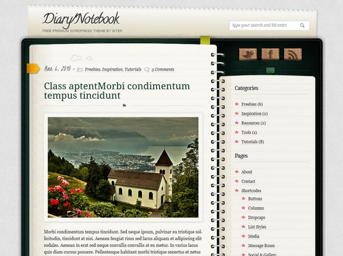 Diary Notebook Free WP Theme
