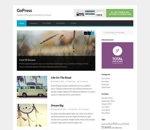 GoPress Free WP Template