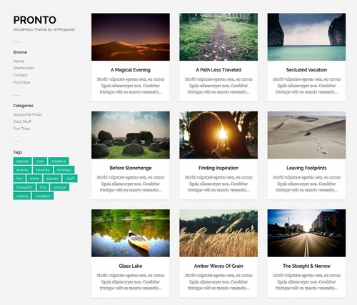 Pronto WordPress blog themes